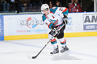 KELOWNA, CANADA, FEBRUARY 11: Myles Bell #29 of the Kelowna Rockets skates with the puck as the Kamloops Blazers visit the Kelowna Rockets on February 11, 2012 at Prospera Place in Kelowna, British Columbia, Canada (Photo by Marissa Baecker/Shoot the Breeze) *** Local Caption ***