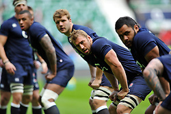 England captain Chris Robshaw looks on during the pre-match warm-up - Photo mandatory by-line: Patrick Khachfe/JMP - Tel: Mobile: 07966 386802 09/11/2013 - SPORT - RUGBY UNION -  Twickenham Stadium, London - England v Argentina - QBE Autumn Internationals.