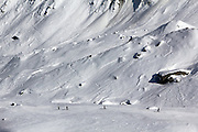Skiers on the Mer de Glace glacier that sweeps down from Mont Blanc, near Chamonix