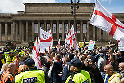 © Licensed to London News Pictures . 03/06/2017 . Liverpool , UK . EDL supporters . Hundreds of police manage a demonstration by the far-right street protest movement , the English Defence League ( EDL ) and an demonstration by opposing anti-fascists , including Unite Against Fascism ( UAF ) . Photo credit: Joel Goodman/LNP