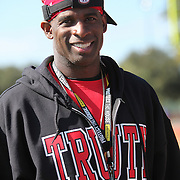 NFL player Deion Sanders coaches during the practice session at the Walt Disney Wide World of Sports Complex in preparation for the Under Armour All-America high school football game on December 3, 2011 in Lake Buena Vista, Florida. (AP Photo/Alex Menendez)