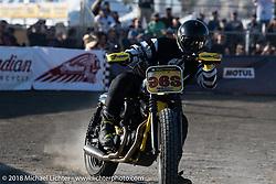 Flat track racing at the RSD Moto Beach Classic. Huntington Beach, CA, USA. Saturday October 27, 2018. Photography ©2018 Michael Lichter.