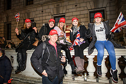 © Licensed to London News Pictures. 31/01/2020. London, UK. At 11pm, Supporters of Brexit celebrate in Westminster, London, as the UK leaves the European Union. 51. 9% of the UK population voted to leave the EU in a referendum in June 2016. Photo credit: Ben Cawthra/LNP