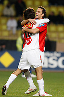 FOOTBALL - FRENCH CUP 2009/2010 - 1/16 FINAL - AS MONACO v OLYMPIQUE LYONNAIS - 24/01/2010 - PHOTO PHILIPPE LAURENSON / DPPI - JOY CHU YOUNG PARK AFTER HIS GOAL (ASM) WITH NENE