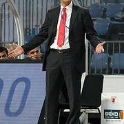 Pinar Karsiyaka's coach Hakan DEMIR during their Turkish Basketball Legague Play-Off qualifying first match Efes Pilsen between Pinar Karsiyaka at the Sinan Erdem Arena in Istanbul Turkey on Wednesday 11 May 2011. Photo by TURKPIX