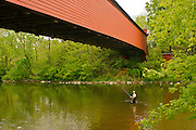 Berks County, Pennsylvania, Wertz Red Bridge, Tulpehocken Creek, Fisherman
