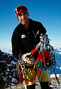 New Zealand professional climber and film crew rigger Athol Whimp, Southern Alps, New Zealand.