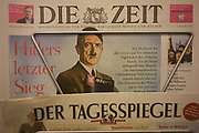 The German national Die Zeit newspaper displays a picture of Adolf Hitler on their front page, a feature about Stern Magazine's controversial Hitler Diaries scandal, 30 years ago. The national scandal of the day was news around the world. Two senior staff at Stern magazine resigned after documents proved the 'lost diaries' of Hitler were forgeries. Peter Koch and Felix Schmidt, Stern's two chief editors, lost their jobs because they had failed to discover the forgery before the first installment of the purported Hitler diaries was printed on April 28 1983.
