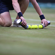 LONDON, ENGLAND - JULY 15: A ball boy in action during the Men's Doubles Final on Center Court during the Wimbledon Lawn Tennis Championships at the All England Lawn Tennis and Croquet Club at Wimbledon on July 15, 2017 in London, England. (Photo by Tim Clayton/Corbis via Getty Images)