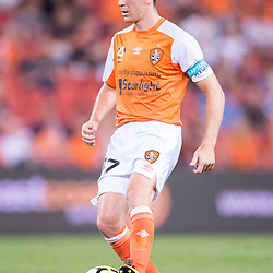 BRISBANE, AUSTRALIA - OCTOBER 13: Matt McKay of the Roar in action during the Round 2 Hyundai A-League match between Brisbane Roar and Adelaide United on October 13, 2017 in Brisbane, Australia. (Photo by Patrick Kearney)