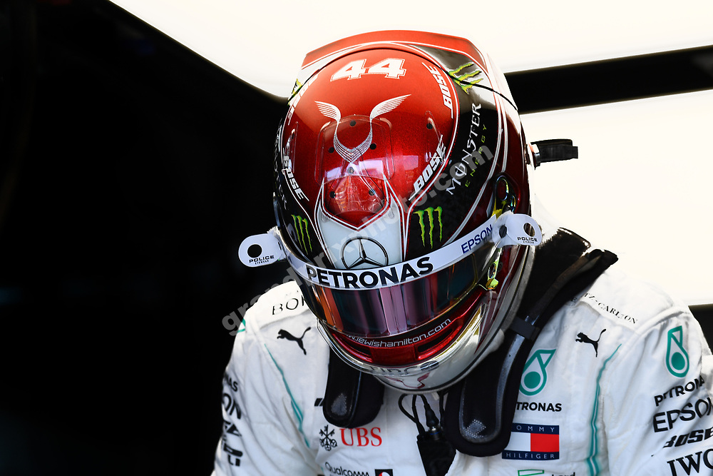 Lewis Hamilton (Mercedes) in the pits with his helmet on before the 2019 French Grand Prix at Paul Ricard. Photo: Grand Prix Photo