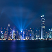 Hong Kong skyline lit at night for Symphony of light