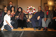 l to r: Autunm Asante, Terrie Williams, Zead Ramadan, Ilyassah Shabazz(daughter of Dr. Betty Shabazz and Malcom X), Guest, Rev. Al Sharpton and Rev. Dr. Herbert Daughtery, Sr. at The 84th Birthday Celebration for Malcolm X and the Memorializing and Marking, for the First Time, the Location in Audubon Ballroom Where He Was Martyred in 1965.