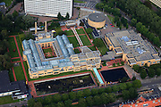 Nederland, Zuid-Holland, Den Haag, 15-07-2012; De Stadhouderslaan met het gele Gemeentemuseum (Berlage) en het Omniversum. The Gemeentemuseum and Omniversum (yellow buildings) . luchtfoto (toeslag), aerial photo (additional fee required).foto/photo Siebe Swart