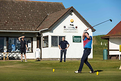 Golf returns to Scotland, Dunbar, 29 May 2020 <br /> Pictured: Mike Gilmartin teeing off in the first group to tee off post lockdown. The first golfers, Steven Miller and Mike Gilmartin, tee off at Dunbar Golf Club. Players have returned to the greens as the first phase of COVID restrictions are lifted.<br /> <br /> (c) Richard Dyson | EdinburghElitemedia.co.uk 2020