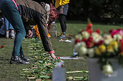 13th, March, 2021. Cheltenham residents lay flowers to the memory of murdered Sarah Everard in Pittville Park, Cheltenham, England.