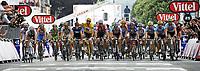 Sykkel<br /> Tour de France 2010<br /> 05.07.2010<br /> Foto: PhotoNews/Digitalsport<br /> NORWAY ONLY<br /> <br /> ETAPE 2 : BRUSSELS - SPA<br /> <br /> Thor Hushovd i norsk mesterstrøye midt i feltet<br /> Fabian Cancellara i gul trøye