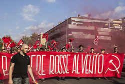 September 30, 2018 - Rome, Italy - In hundreds they have shown in memory of Walter Rossi, a young communist activist killed by fascists. Rossi was killed by a bullet in the back of the head while he was distributing leaflets, he was only twenty. The fascist group, which fired, was sheltered behind a police armored car. (Credit Image: © Elisa Bianchini/Pacific Press via ZUMA Wire)