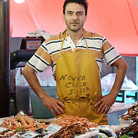 """Chioggia, Venetian Lagoon, Italy 30 June 2009<br /> Portrait of """"Super Carlo"""", fish sale attendant.<br /> PHOTO: EZEQUIEL SCAGNETTI"""