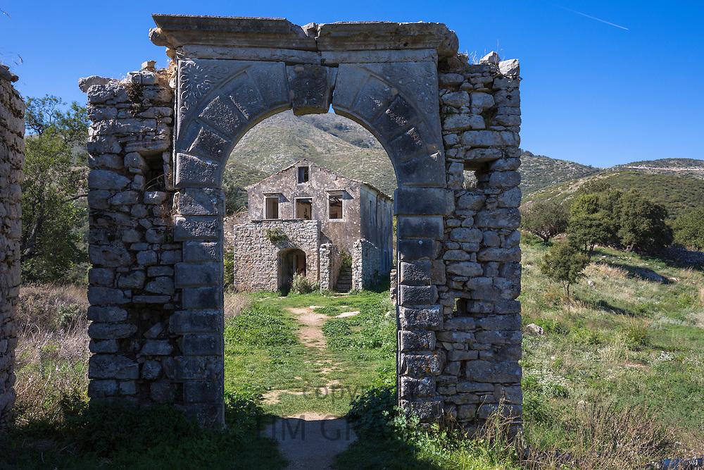 Derelict abandoned Skordilis Mansion house in ancient mountain village of Old Perithia - Palea Peritheia, Corfu, Greece
