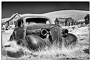 An infrared image of the most picturesque car in Bodie State Historic Park.