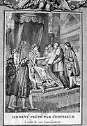 Coronation of Napoleon I in Notre Dame, Paris, 2 December 1804. Napoleon taking the Oath. Engraving