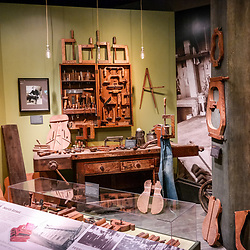 Nazareth, PA, USA - October 27, 2014:  One of the many displays in the self-guided museum tour at the C.F. Martin factory in Nazareth, Pennsylvania.