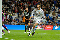 Real Madrid´s Cristiano Ronaldo mark a goal during 2014-15 La Liga match between Real Madrid and Malaga at Santiago Bernabeu stadium in Madrid, Spain. April 18, 2015. (ALTERPHOTOS/Luis Fernandez)