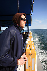 Andrej Tavzelj of Slovenian National Ice-hockey Team at whale watching boat, during IIHF WC 2008 in Halifax, on May 07, 2008, sea at Halifax, Nova Scotia,Canada.(Photo by Vid Ponikvar / Sportal Images)