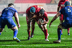 Scarlets' Ryan Elias and Tadhg Beirne in action<br /> <br /> Photographer Craig Thomas/Replay Images<br /> <br /> Guinness PRO14 Round 17 - Scarlets v Leinster - Friday 9th March 2018 - Parc Y Scarlets - Llanelli<br /> <br /> World Copyright © Replay Images . All rights reserved. info@replayimages.co.uk - http://replayimages.co.uk