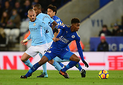 Wilfred Ndidi of Leicester City battles for the ball with David Silva of Manchester City - Mandatory by-line: Alex James/JMP - 18/11/2017 - FOOTBALL - King Power Stadium - Leicester, England - Leicester City v Manchester City - Premier League