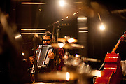 Mario Bihari on stage during a sound check for a live recording of an album with his band Bachtale Apsa in Prague.
