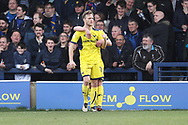 Oxford United defender Todd Kane (19) celebrating after scoring goal to make it 1-1 during the EFL Sky Bet League 1 match between AFC Wimbledon and Oxford United at the Cherry Red Records Stadium, Kingston, England on 10 March 2018. Picture by Matthew Redman.