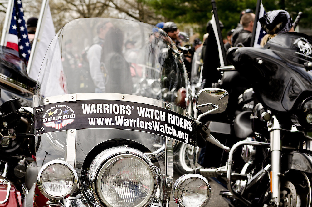 Jacob Newcomb receives a tribute welcome home from Warriors' Watch and others. Motorcycles lined the street.