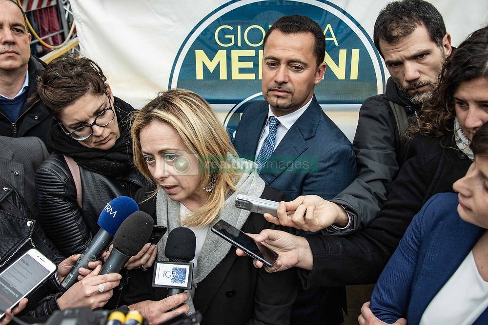 May 4, 2019 - Palermo, Sicily, Italy - Giorgia Meloni, member of the Italian Parliament and President of the Brothers of Italy Party, political party of Right, visits Palermo, Italy, on 4 May 2019, in view of the European elections in May  (Credit Image: © Francesco Militello Mirto/NurPhoto via ZUMA Press)