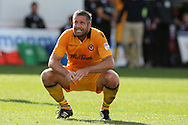 Jon Parkin of Newport county looks on after missing his chance to score a 3rd. EFL Skybet football league two match, Newport county v Cheltenham Town at Rodney Parade in Newport, South Wales on Saturday 10th September 2016.<br /> pic by Andrew Orchard, Andrew Orchard sports photography.