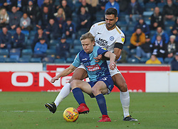 Ryan Tafazolli of Peterborough United in action with Alex Samuel of Wycombe Wanderers - Mandatory by-line: Joe Dent/JMP - 03/11/2018 - FOOTBALL - Adam's Park - High Wycombe, England - Wycombe Wanderers v Peterborough United - Sky Bet League One