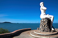 """Kep Siren Statue, the Symbol of Kep Beach.  Though the beach may not be up to par with Sihanoukville's the statue of this Sea Siren is much loved by Cambodians and a """"must"""" photo op for visitors from Phnom Penh."""