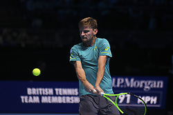 November 13, 2017 - London, England, United Kingdom - Belgium's David Goffin returns against Spain's Rafael Nadal during their singles match on day two of the ATP World Tour Finals tennis tournament at the O2 Arena in London on November 13, 2017. (Credit Image: © Alberto Pezzali/NurPhoto via ZUMA Press)