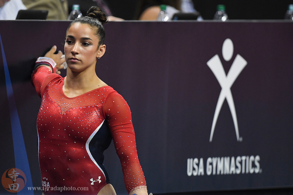 July 8, 2016; San Jose, CA, USA; Aly Raisman, Needham, MA, stretches during the women's gymnastics U.S. Olympic team trials at SAP Center.