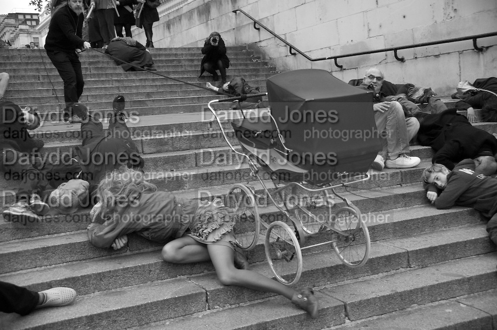 INTERCOURSE: Re-enacting Eisenstein: The Odessa Steps Sequence from Battleship Potemkin<br /> Jane and Louise Wilson directed the re-enactment on the steps outside the ICA. 26 November 2011.