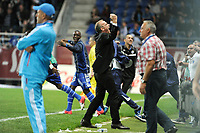 FOOTBALL - FRENCH CHAMPIONSHIP 2012/2013 - L1 - ES TROYES v OLYMPIQUE MARSEILLE  - 21/10/2012 - PHOTO JEAN MARIE HERVIO / REGAMEDIA / DPPI - JOY JEAN MARC FURLAN (COACH TROYES) AT THE END OF THE MATCH