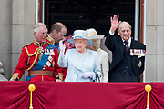 Trooping the Colour is a ceremony performed by regiments of the British and Commonwealth armies and as also marked the official birthday of the British sovereign, Queen Elizabeth.It is held in London annually on a Saturday in June on Horse Guards Parade by St. James's Park<br /> <br /> On the photo: Prince Charles , Queen Elizabeth and Prince Philip, Duke of Edinburgh