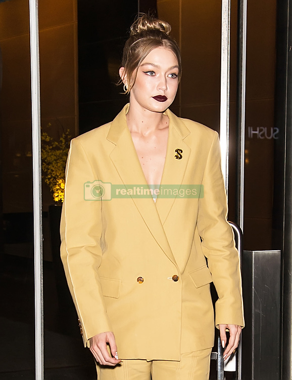 Gigi Hadid and Bella Hadid are seen leaving HBO documentary 'Being Serena' premiere at Time Warner Center in New York. 25 Apr 2018 Pictured: Gigi Hadid a. Photo credit: MEGA TheMegaAgency.com +1 888 505 6342