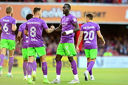 Josh Brownhill of Bristol City is congratulated on his goal by Famara Diedhiou - Mandatory by-line: Dougie Allward/JMP - 15/08/2017 - FOOTBALL - Griffin Park - Brentford, England - Brentford v Bristol City - Sky Bet Championship