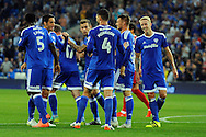 Cardiff City players celebrate Blackburn's Shane Duffy's second own goal (out of shot). EFL Skybet championship match, Cardiff city v Blackburn Rovers at the Cardiff city stadium in Cardiff, South Wales on Wednesday 17th August 2016.<br /> pic by Carl Robertson, Andrew Orchard sports photography.