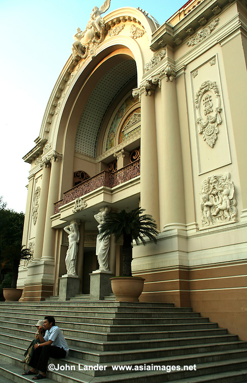 The Saigon Opera House in Ho Chi Minh City is an example of French Colonial architecture in Vietnam.<br /> Built in 1897 by French architect Ferret Eugene, the 800 seat building was used as the home of the Lower House assembly of South Vietnam after 1956. It was not until 1975 that it was again used as a theatre and restored in 1995.  These days it is called Municipal Theatre, and rarely hosts opera.