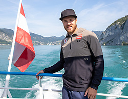 17.07.2019, Sankt Gilgen, AUT, OeSV, Pressetermin Herren Speed Team, Wasserskifahren und Wakesurfen beim Wolfgangsee, im Bild Chistian Walder // Chistian Walder during a press conference of the Austrian Ski Association (OeSV), Mens Speed Team waterskiing and wakesurfing at the Wolfgangsee Sankt Gilgen, Austria on 2019/07/17. EXPA Pictures © 2019, PhotoCredit: EXPA/ Johann Groder