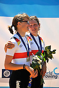 Seville. Andalusia. SPAIN. Women's Lightweight Double Sculls, Silver Medalist, GER LW2X, Lena MUELLER and Anja NOSKE  2013 FISA European Rowing Championship.  Guadalquivir River.  Sunday   02/06/2013  [Mandatory Credit. Peter Spurrier/Intersport]