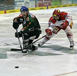 23.04.2010, Curt Frenzel Stadion, Augsburg, GER, DEL, Augsburger Panther vs Hannover Scorpions, Play Off, im Bild Chris Collins (Augsburg #17) und Thomas Dolak (Hannover #9) im Zweikampf EXPA Pictures © 2010, PhotoCredit: EXPA/ nph/  Schrader / SPORTIDA PHOTO AGENCY